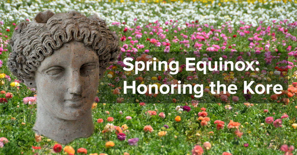 "Set against a field of flowers, an earthenware head of a woman with intricately braided hair in a crown hovers next to the text ""3CG Spring Equinox: Honoring the Kore"""