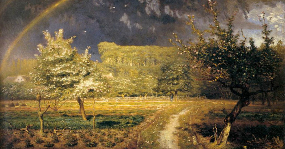 In a rich, dream-like, sun-drenched painting, a dirt road leads through a field, passing heavy-laden fruit trees as it approaches a wood beneath a rainbow.